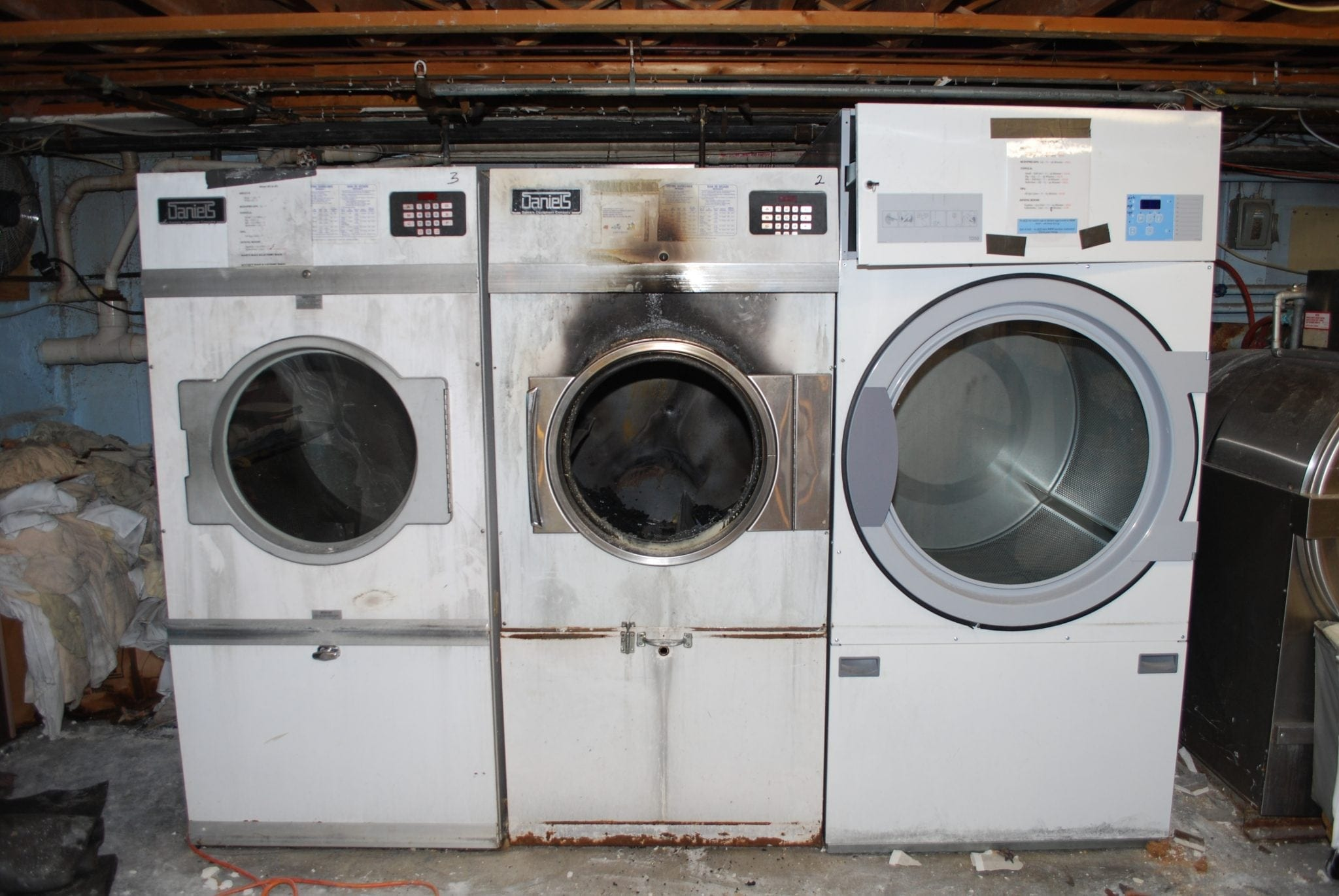 Commercial Dryer Fire on Lab Equipment